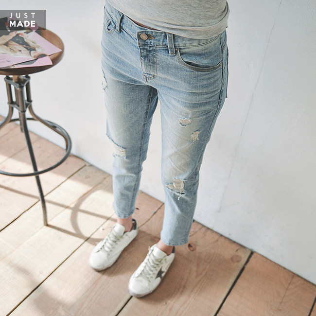 <br> JO1067_67 Light blue damage pants