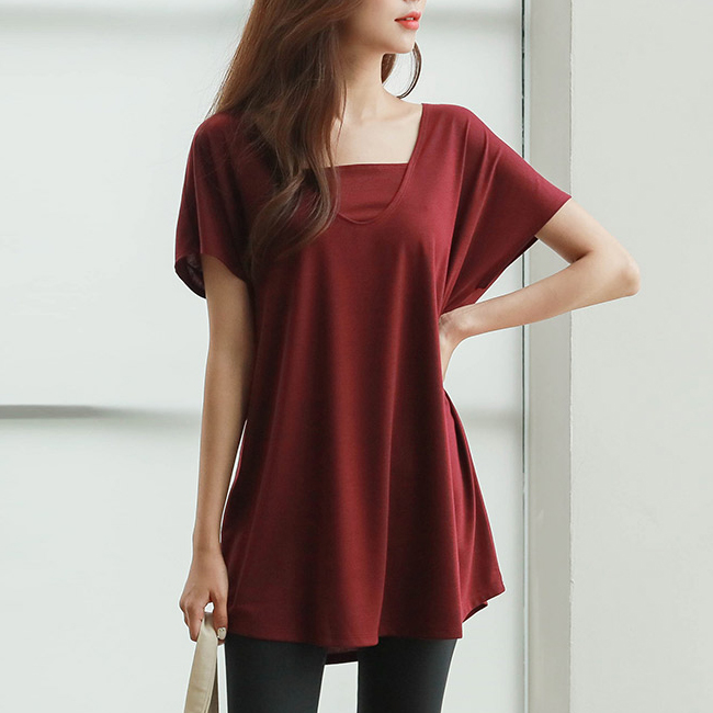 <br> YA00086_Double neck drop sleeve long tee